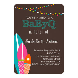 Baby Shower Invitation With Surfboards- BabyQ Baby