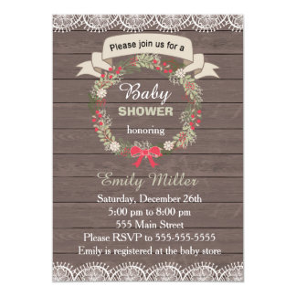 Baby Shower Invitation Wood Chistmas Wreath