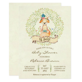 baby shower invitation woodland forest fox
