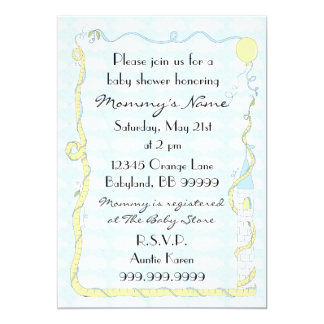 "Baby Shower Invitation. Yellow/Blue/Castle 5"" X 7"" Invitation Card"