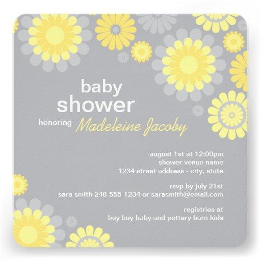 Baby Shower Invitation   Yellow Gray Daisy Delight