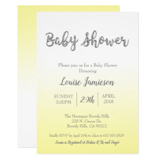 Baby Shower Invitation Yellow & Silver Glitter