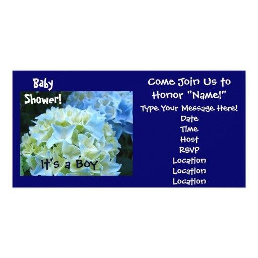 Baby Shower! Invitations Blue Hydrangea It's a Boy Photo Greeting Card