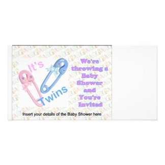 BABY SHOWER INVITATIONS FOR TWINS PHOTO CARD