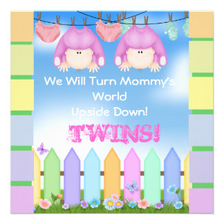 BABY SHOWER Invitations GIRL TWINS