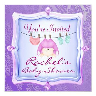 BABY SHOWER Invitations PINK GEM  Damask Design