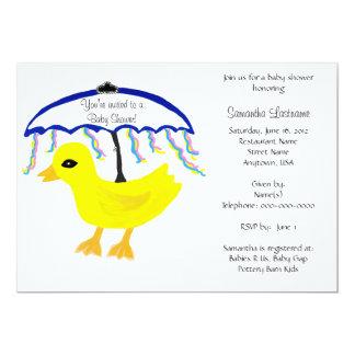 Baby Shower Invitations Rubber Ducky Umbrella Personalized Announcement