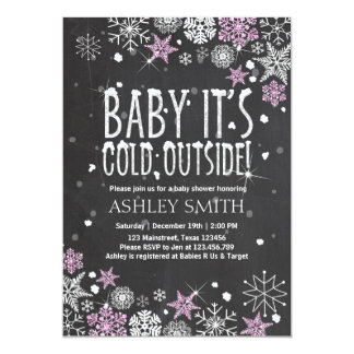 Baby Shower invite Baby cold outside Pink Silver