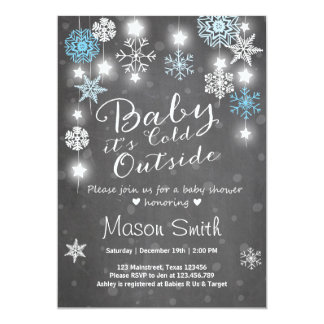 Baby Shower invite Baby it's cold outside Boy Blue