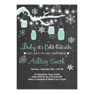 Baby Shower invite Baby it's cold outside Mint