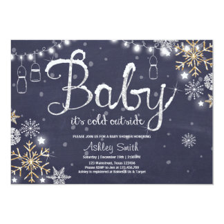 Baby Shower invite Baby it's cold outside Silver