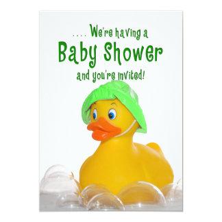"BABY SHOWER INVITE - GREEN HAT -  RUBBER DUCKY 5"" X 7"" INVITATION CARD"