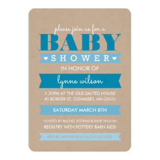 BABY SHOWER INVITE modern rustic kraft white BLUE