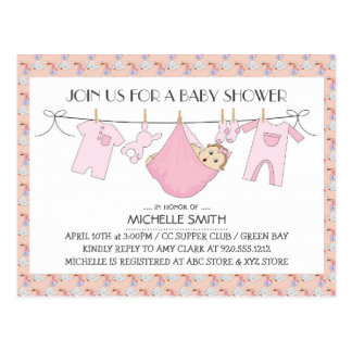 Baby Shower Invite Postcard - Clothes Line Design