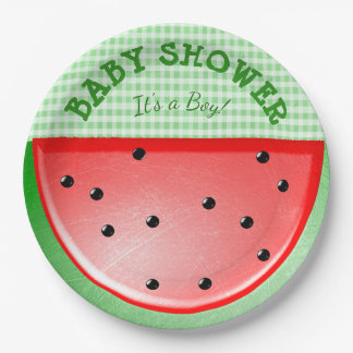 Baby Shower Its a Boy Watermelon Green  Plates