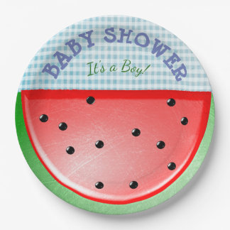 Baby Shower Its a Boy Watermelon Plates 9 Inch Paper Plate