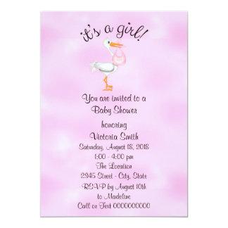 Baby Shower It's a Girl Baby Girl Stork Card