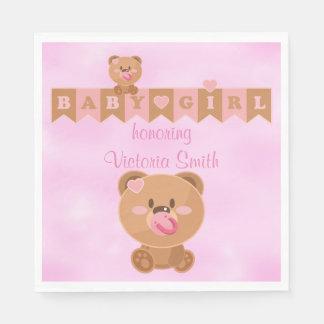 Baby Shower It's a Girl Baby Girl Teddy Bear Napkin