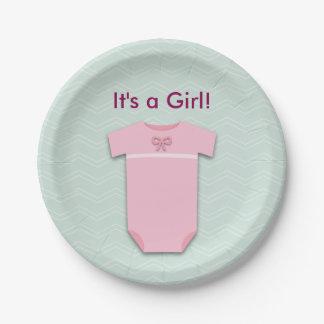 Baby Shower It's a Girl Celebration Bodysuit 7 Inch Paper Plate