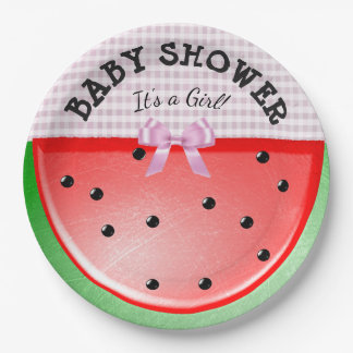 Baby Shower Its a Girl Watermelon Pink Plates
