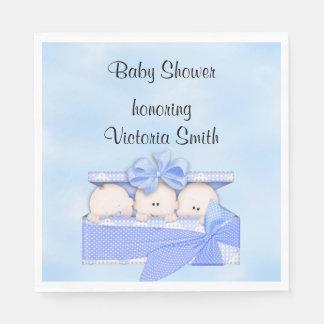Baby Shower It's Triplets Boy Paper Napkin