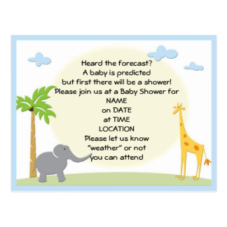baby Shower Jungle Postcard Invitation