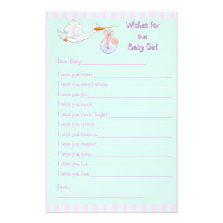 Baby Shower Keepsake - Wishes for Baby Girl Stationery