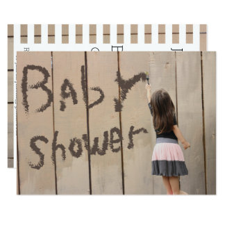 Baby Shower Kindergarten Girl Painting Fence Card