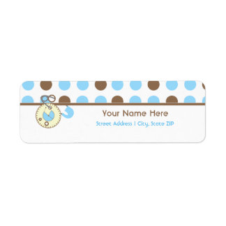 Baby Shower Label - Blue Diaper Pink & Polka Dots