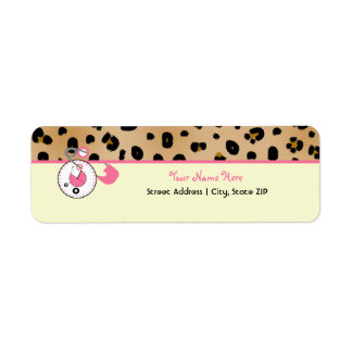 Baby Shower Label - Leopard Print & Diaper Pin
