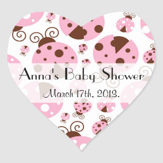 Baby Shower - Ladybugs, Ladybirds - Pink Brown Heart Sticker