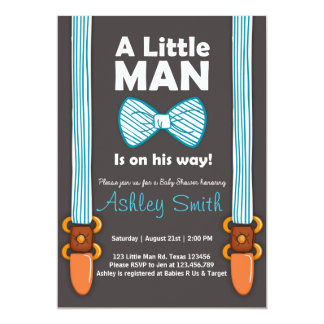 Baby Shower Little Man Invitation Bow Tie Blue