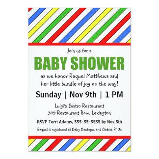 Baby shower lumineux de couleurs primaires de carton d'invitation  12,7 cm x 17,78 cm