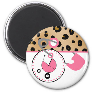 Baby Shower Magnet - Leopard & Pink Diaper Pin