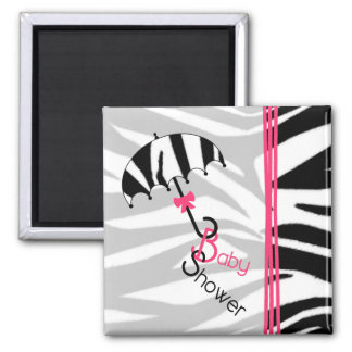 Baby Shower Magnet - Zebra Print Umbrella & Pink