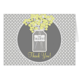 Baby Shower Mason Jar (yellow) Thank You Card