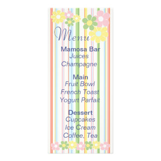 "Baby Shower Menu ""Flowers and Stripes"""