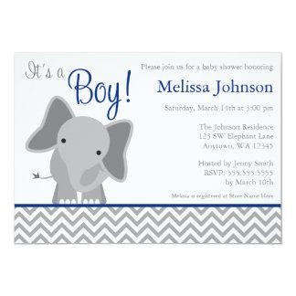 Baby shower mignon de bleu marine de Chevron Carton D'invitation 12,7 Cm X 17,78 Cm