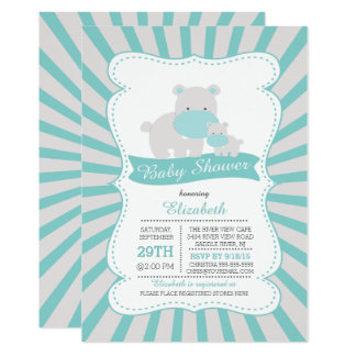 Baby shower mignon de garçons d'hippopotame de carton d'invitation  12,7 cm x 17,78 cm