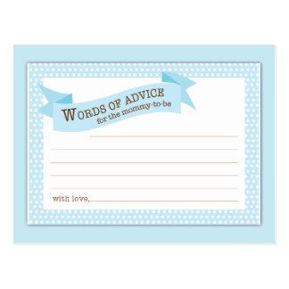 Baby Shower Mom Advice Card Blue Polka Dot Postcard