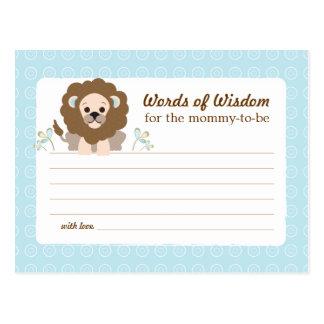 Baby Shower Mom Advice Card Boy Lion Postcard