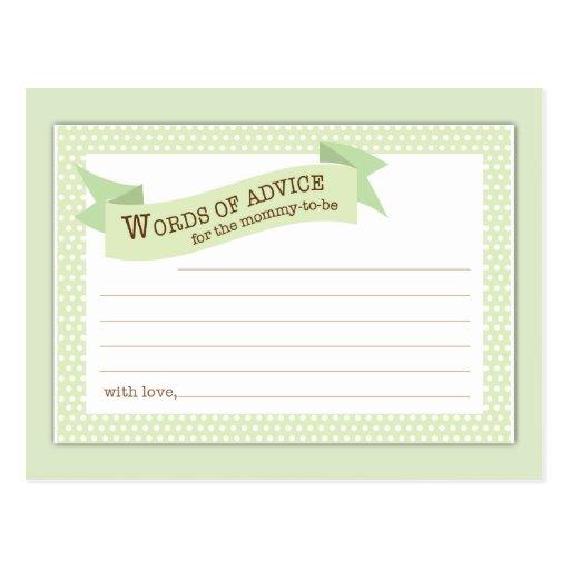 Baby Shower Mom Advice Card Green Polka Dot Postcard