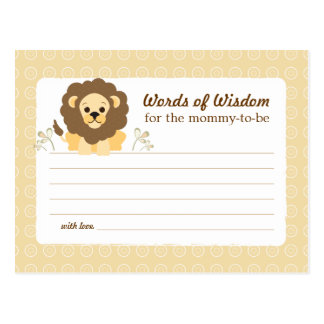 Baby Shower Mom Advice Card Neutral Lion Postcard