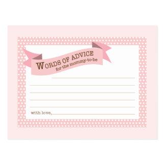 Baby Shower Mom Advice Card Pink Polka Dot Postcard