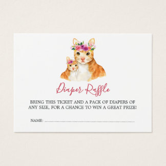 Baby Shower Mom And Baby Cat Diaper Raffle Business Card
