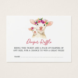 Baby Shower Mom And Baby Lamb Diaper Raffle Business Card