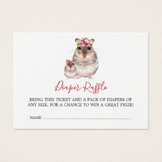 Baby Shower Mom And Baby Mouse Diaper Raffle Business Card