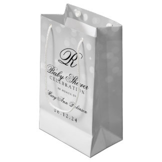 Baby Shower Monogram Silver Bokeh Sparkle Lights Small Gift Bag