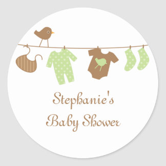 Baby shower neutral birds and laundry stickers