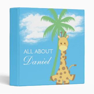 Baby shower new baby blue giraffe gift binder